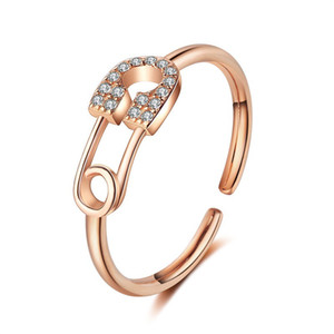 20pcs Lot Hollow Out Pin Design Opening Ring Cool Rhinestone Adjustable Finger Ring Women Copper Rose Gold Hand Jewelry Accessories