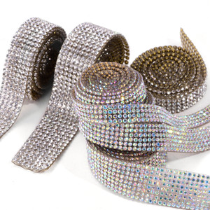 5Yard 4 6 8 Rows 2mm SS6 Bling Crystal Chatons Iron on Trim Self-Adhesive Tape Ribbon Hot-Fix Patches Sewing Mesh Roll DIY F0263