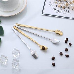 Uzun Kolu Kare Başkanı Karıştırma Kaşık Paslanmaz Çelik Kahve Buz Kepçe Saf Renk Farklı Boyut 0 72WX J1 ile İyi Satmak