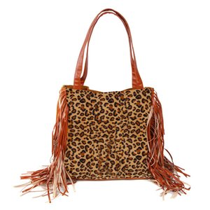 Wholesale Leopard And Fringe Crossbody, Women Canvas Purse With Tassel Trim Serape Accessory Shoulder Strap Purse