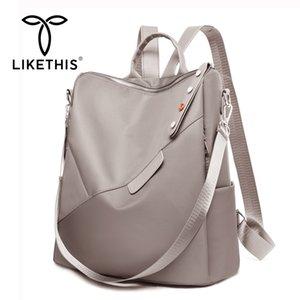 LIKETHIS Classic Bags Woman Backpacks Waterproof Rucksack Laptop Oxford Large Mochila Feminina Solid Black School Bags 201013
