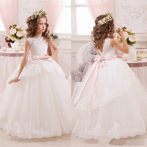 Princess Ball Gown White Lace Flower Girls Dresses For Weddings Cheap Tulle Belt Bow Knot Custom First Communion Dress Gown