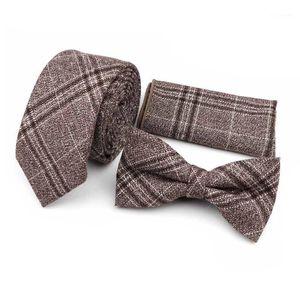 100% coton Nice Cravate Set rayé Plaid brun gris gris gris cravate cravate nœud cravate mouchoir de mode classique accessoire cadeau Vintage1
