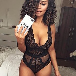 Summer Lace Bodysuit Women Floral Embroidery Deep V Neck Sexy Bodysuit Dot Patchwork Jumpsuit Overalls Drop Shipping