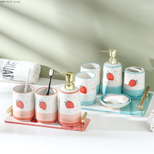 Bathroom Supplies Set Toothpaste Dispenser Bathroom Decoration Accessories Toothbrush Holder Ceramic Lotion Bottle Tray Cup1