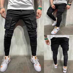 أزياء الرجال الشحن جينز جيوب المرقعة مرونة هول سروال رصاص سليم سحاب بنطلون جينز للرجال