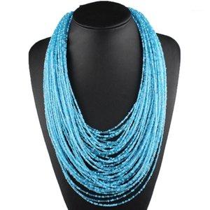 Claire Jin Böhmische Kleine Perlen Multi Layer Halskette Vintage Frauen Mode Aussage Halsketten Choker ethnische Schmucksry1