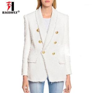 HAGEOFLY Yüksek Kalite Beyaz Siyah Blazer Kadınlar Uzun Kollu Altın Çift Düğmeler Yeni Tasarımcı Blazers Dış Ceket Kadın Sonbahar1
