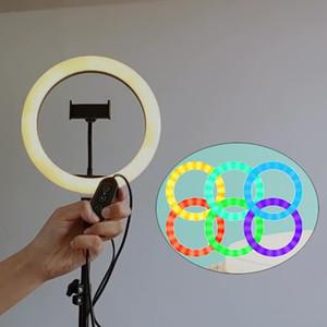 10 \ '\' RGB Light Ring con il basamento, Mini dimmerabili cerchio di luce LED, trucco luce istantanea con supporto per telefono cellulare Remote Desktop Control Anello