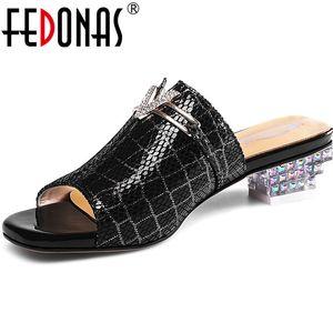 FEDONAS Concise Rhinestone Genuine Leather Women Sandals Peep Toe Strange Heels Pumps 2020 Summer Prom Party Basic Shoes Woman 0928
