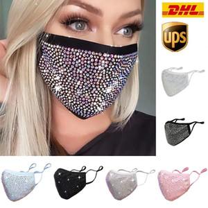 2021 US Stock Mode Staubdichte Gesichtsmaske Bling Bling Diamant Schutzmaske Mund Masken Waschbare Wiederverwendbare Frauen Bunte Strassmaske