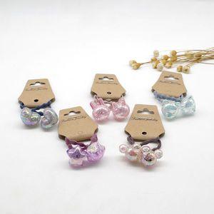 Cristal ronde Perle de queue de queue de queue de queue en caoutchouc Hair Elastic Accessoires Filles Femmes Tie Gum