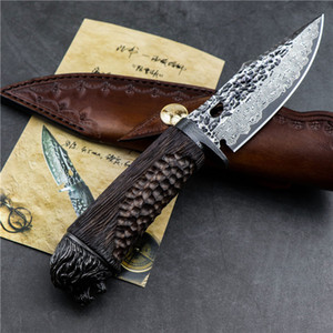 Damascus outdoor camping survival hunting straight knife Damascus steel blade ebony handle high hardness sharp tactical tool EDC tool