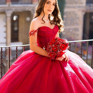 Chrro Red Lace Ball Gown Quinceanera Dresses Lace Applqiues Sweet 16 Dress 2021 Off the Shoulder vestidos de 15 años