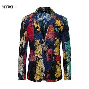 Yffushi moda hombres traje chaqueta más reciente pintura multicolor Imprimir Dos botones Blazer Party Presenter Dress Slim Fit Casual 6XL1
