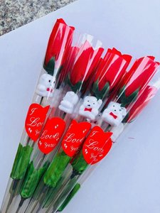 2021 Simulation Rose Flower Single Red Roses Cartoon Bear With a heart-shaped Sticker Valentines Day Gift Mothers Day Gift Wedding HH21-25