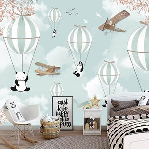 Custom Mural Wallpaper For Kids Room 3D Cartoon Hot Air Balloon Wall Painting Children Bedroom Decoration Photo Paper