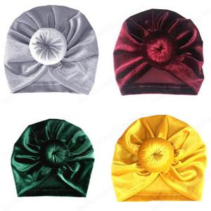 Baby Girls Indian Hats Infant Donut Gold Velvet Caps Kids Solid Outdoor Slouchy Beanies Toddler Boys Skull Caps Enfant Hats