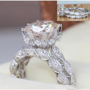 2018 Vintage Engagement Wedding Ring Set for Women 3ct Analog Diamond Cz 925 Sterling Silver Women's Party Ring156411255376 C6th#
