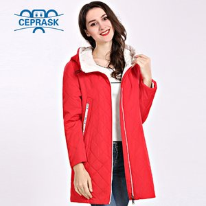Spring Autum Women's Parka Coat Thin Women Jackets Long Plus Size Hooded High Quality Warm Cotton Coats CEPRASK New Padded 201023