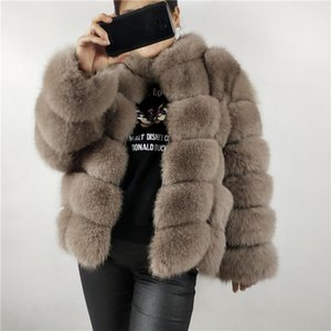 Kadın Kürk Faux Ceket Sıcak Ve Şık Doğal Ceket Yelek Standı Yaka Uzun Kollu Deri Mont