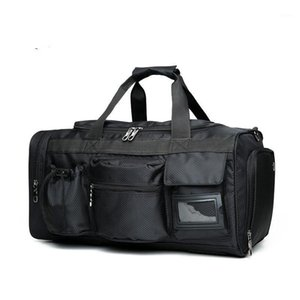 Men Travel Bags Luggage Nylon Duffle Bag Travel Handbag Waterproof Weekend Bag Large Big Shoulder Men Solid Black Color 981