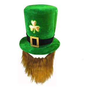 Green Shamrock Hat Irish Festival Cap St. Patricks Day Clover Tophat Creative Headdress Party Favors Decorations Props 125