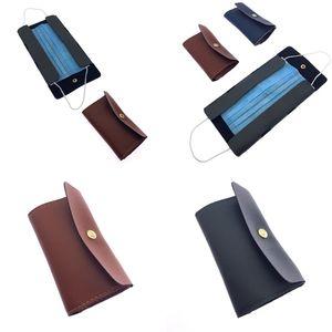 Sheath 5zl Business Bags Case Mask Masks Holder Leather Face Womens Pocketbook Storage Card Mens Portable Bag Colors 3 Mix F2 Ogdxe