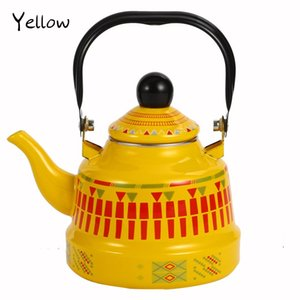 1.1 1.7 2.5L Whistling Enamel Tapot with Steel Handle Exquisite Stovetop Kettles Traditional Bone China Teapots Luxirious Metal Jug DHD2283