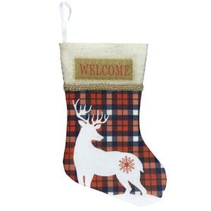 Deer Pattern Christmas Stockings Christmas Gifts Tree Ornament Stocking Santa Claus Snowman Sock Decor Regali Natale Sac Cadeau yxlRhl