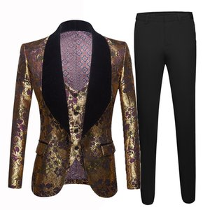Ternos de casamento dos homens 2020 design italiano feito sob encomenda feitos portuguese jaqueta 3 peça noivo therno ternos para homens terno de jacquard de ouro homens