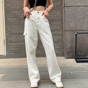 NCLAGEN Women Fashion Casual Jeans White Blue High Waist Loose Pocket Cargo Pants Overalls Omighty Wide Leg Trouser Vintage 200929
