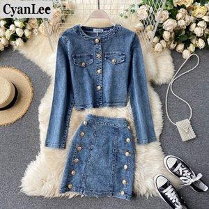 Cyanlee Kadınlar Denim Kot Ceket Tops Etekler Setleri Sonbahar Kış Jean Düğmeleri Cepler Mont Etek Kıyafetler Suits Kıyafetler