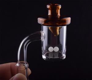 Flat Top Quartz Banger Nail with Terp Pearl Glass carb cap Domeless 10mm 14mm 18mm diamond knot loop banger