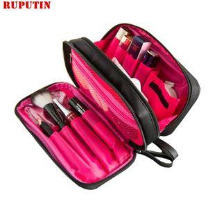 Capa Doble RUPUTIN cosmética bolsa de maquillaje cepillo Casos Caso Negro impermeable viaje Organizador Profesional de Maquillaje Toiletry Kit