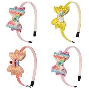 Gradients Pailletten Kindermode-Stirnband-Regenbogen-Muster-Kind-Mehrfarben Bogen dünne Haar-Band-heißen Verkauf-3 06wj J2
