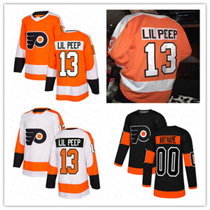 Fashion Star Hommes Femmes Youth Lil Peep # 13 Philadelphia Flyers Jerseys Hockey Hockey cousu Orange Noir Blanc Bonne qualité Taille S-XXXL