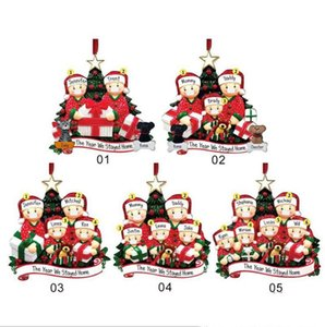 5 Styles Quarantine Mask Snowman PVC Christmas Tree Hanging Pendant Personalized Survived Family Festival Decorations Ornament