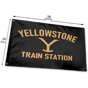 Stazione ferroviaria Yellowstone flag 3x5 piedi individualità yard segno decorazione esterni banner all'aperto veloce spedizione gratuita