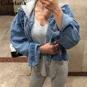 Colorfaith New Autumn Winter Women Denim Jackets Patchwork Hooded Outerwear High Street Oversize Wild Short Jeans JK8929 201110