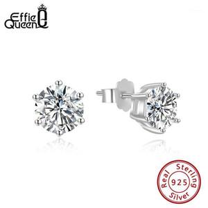 Effie Queen Real 925 Solitaire Silitaire Stud Pendientes Redondos Brillantes Piercing Diamond Cut Compromiso Joyería de boda SE3351
