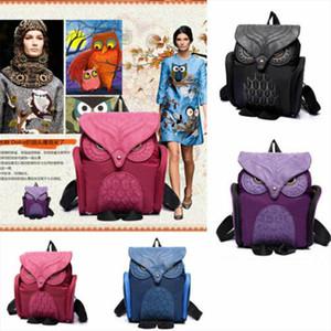 2019 Brand New Style Women PU Leather Cartoon Owl Animal Backpack Shoulder Schoolbags Travel Rucksack