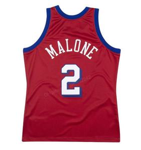 Cheap пользовательские # 2 Моисей Malone Mitchell Ness баскетбол Джерси мужская прошитая любого размера 2xS-3XL 4XL 5xL имя или номер бесплатная доставка