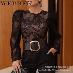 WEPBEL Women Elegant Fashion Black Lace Hollow Out Shirt Top Ladies Long Sleeve O Neck See Through T-shirt with Lining X1217