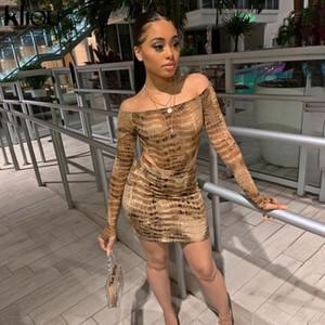 Kliou Crocodile print slash neck sexy bodysuit skirt 2 pieces set autumn winter women streetwear outfits slim tracksuit 201008