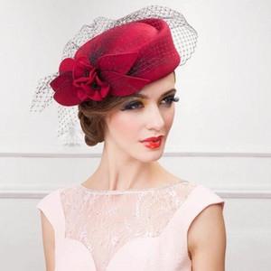 Womens chapéu boné fedoras vestido fascinator lã feltro pillbox chapéu festa casamento véu t200508