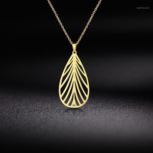 Tree Leaf Cutout Gold Color Pendant Necklace Fashion Stainless Steel Choker Chain Necklaces Jewelry Women Femme Valentines Gift1