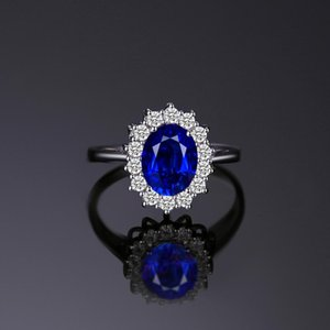 JewelryPalace creata Blue Sapphire Anello Princess Crown Halo Engagement Wedding 925 sterling sterling anelli per le donne 201026
