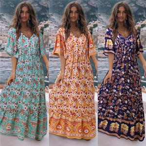 إمرأة مصمم فستان ماكسي الصيف كم قصير مثير V الرقبة عالية الخصر طباعة اللباس Vestidos البوهيمي اللباس