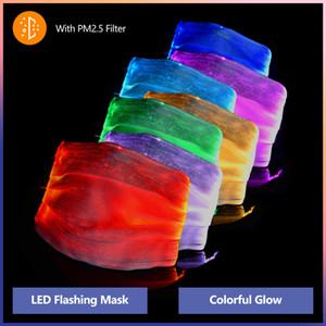 Fashion Designer Glowing Mascherina Con PM2.5 filtro 7 colori Maschere luminoso del fronte LED per Halloween festa di Natale Festival Masquerade Mask Rave